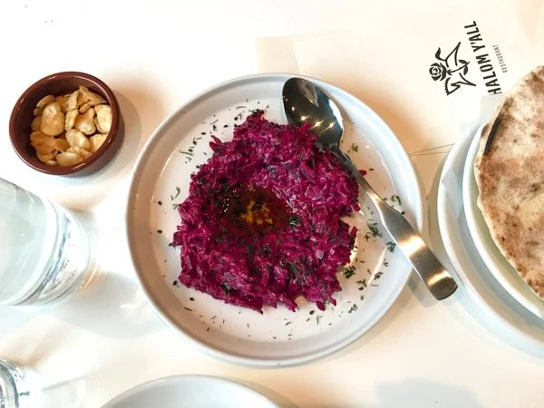 shalom y'all Roasted Beet Tahina with dill, black sesame, and olive oil