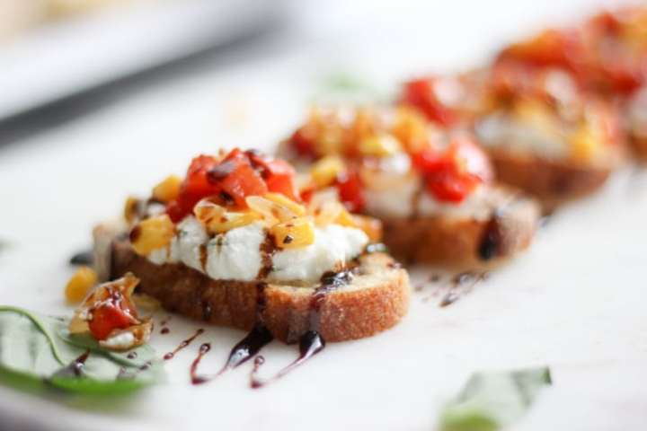 closeup of Whipped Ricotta Crostini