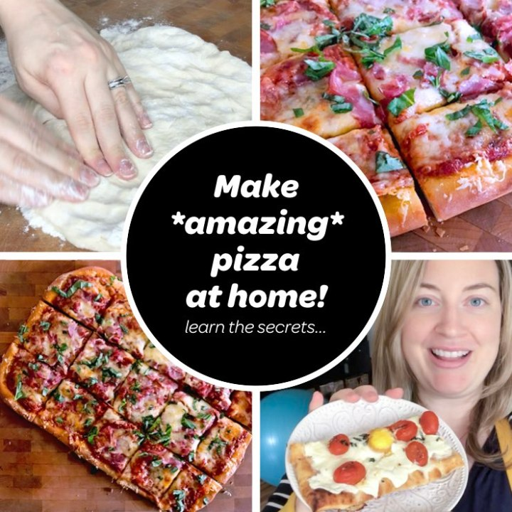 collage of homemade pizza pictures