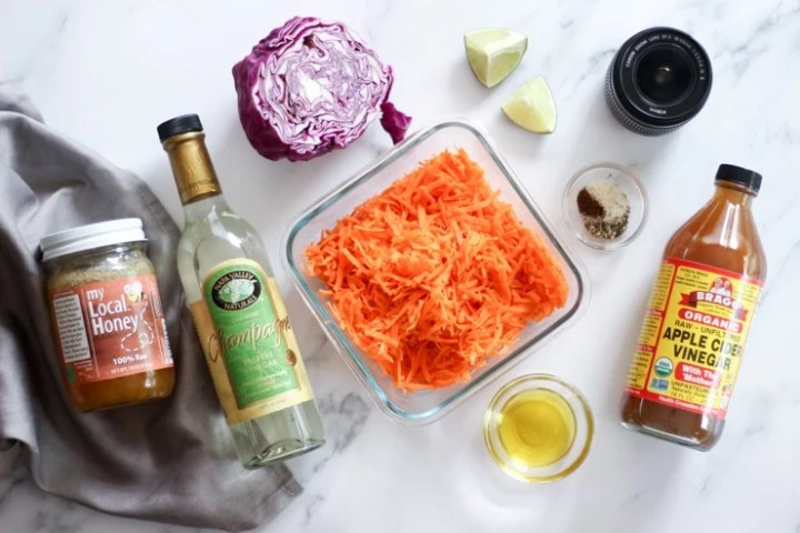 Ingredients for carrot and red cabbage salad with vinegar