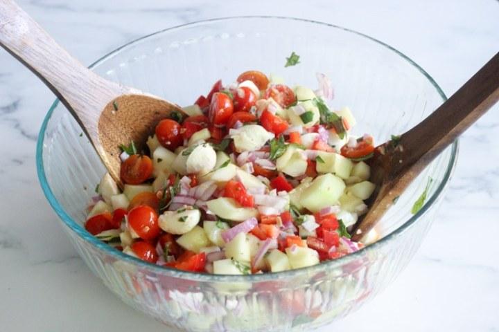 the best caprese cucumber salad recipe with fresh mozzarella balls