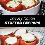 Cheesy Italian stuffed peppers pinterest pin