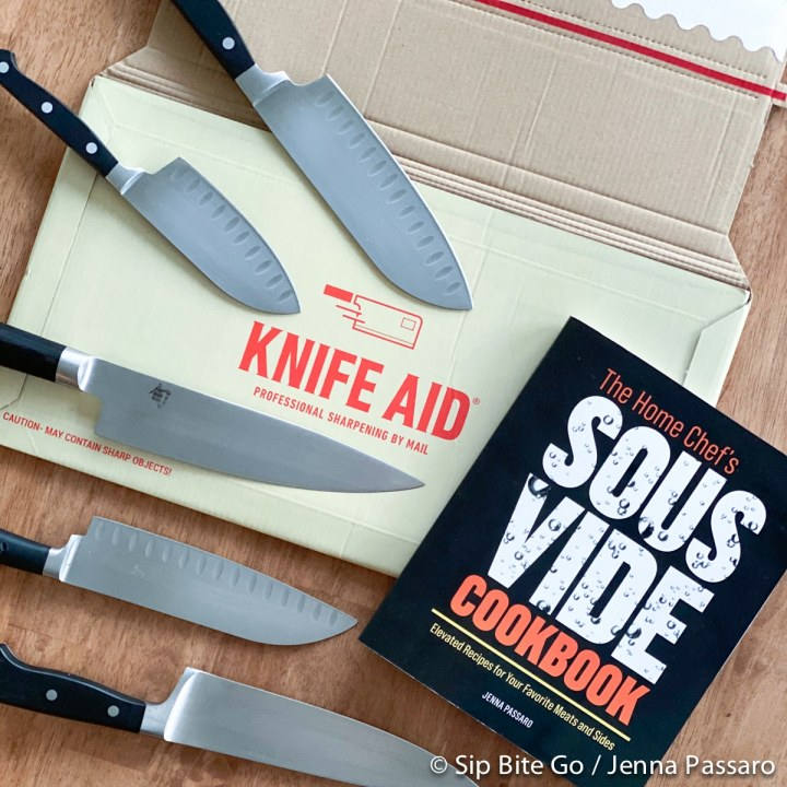 sharpened chefs knives by mail with knife aid box and sous vide cookbook 2020