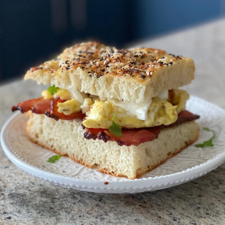 Focaccia Breakfast Sandwich With Bacon And Egg