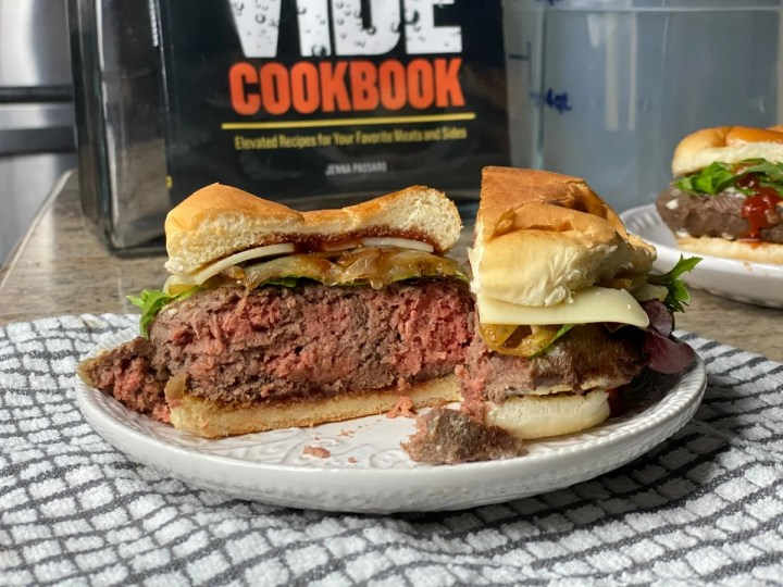 Ground beef sous vide style burger