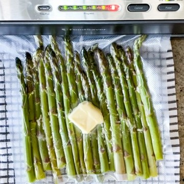 Demonstrating How To Vacuum Seal Asparagus For Sous Vide Cooking