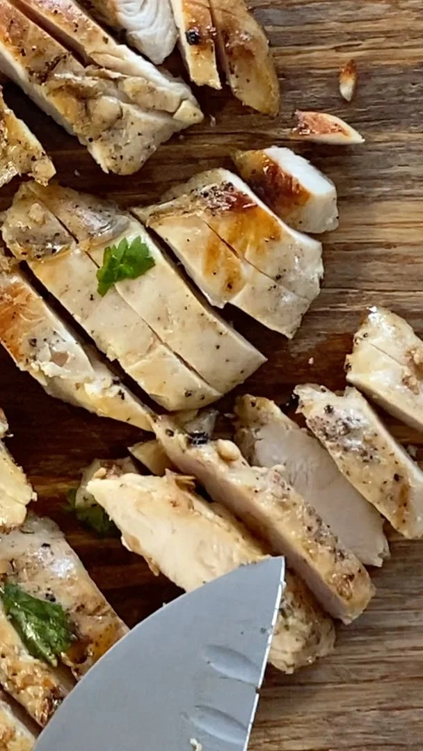 sliced chicken breast sous vide cooked