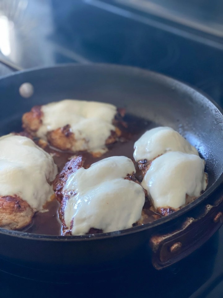 Melted Mozzarella On chicken breasts