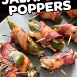 pinterest pin for Bacon wrapped jalapeño poppers