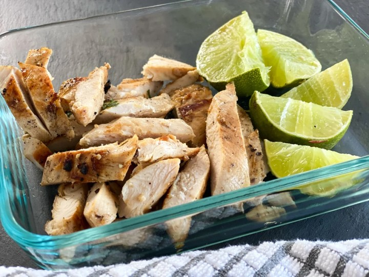 marinated chicken sous vide cooked with limes