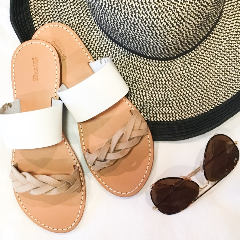 Soludos White and Tan Flip Flops Black and Tan Beach Hat Tortoise RayBan Sunglasses