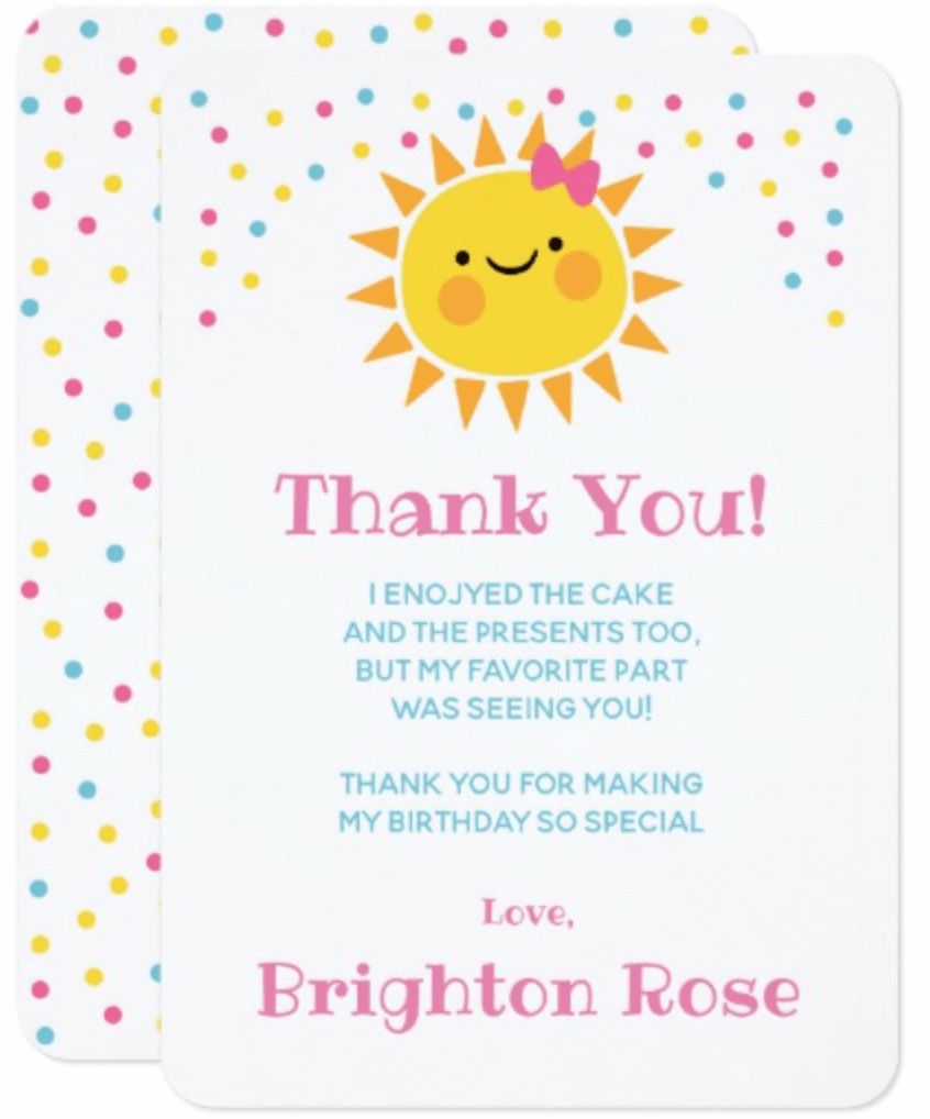 Sunshine, first birthday, thank you note