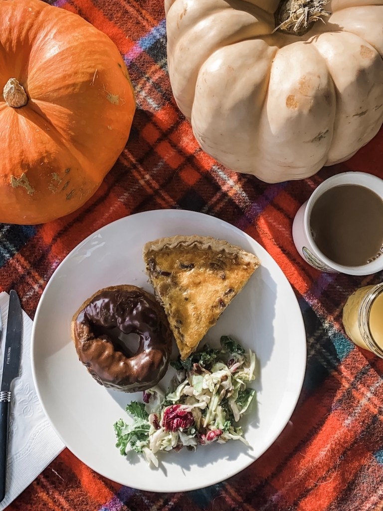 Pumpkins on Table Plaid Table Cloth Brunch Food Coffee