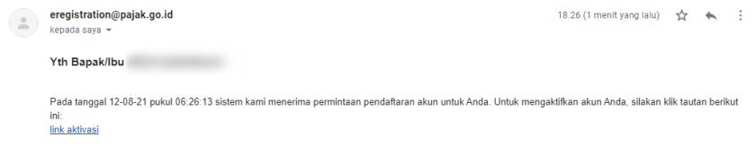 email berhasil pendaftaran akun