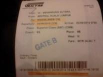 Tiket KTM tampak depan