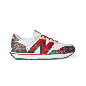 NEW BALANCE + Casablanca 237 suede-trimmed logo-jacquard and leather sneakers