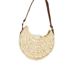ASOS DESIGN structured rattan shoulder bag in natural