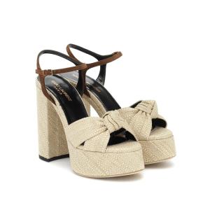 SAINT LAURENT Bianca raffia platform sandals