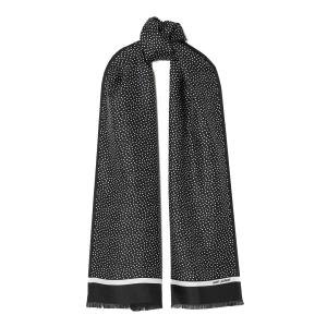 SAINT LAURENT Fringed polka-dot silk-twill scarf