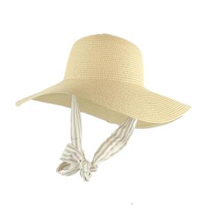 SVNX straw hat with stripe scarf tie strap in beige