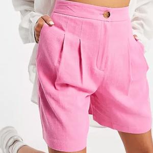 ASOS DESIGN linen mom shorts in pink