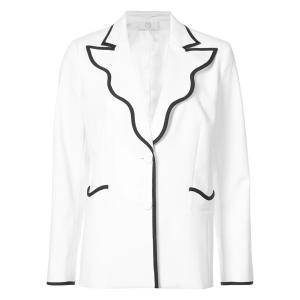 Sara Battaglia contrast-trim fitted blazer