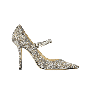 JIMMY CHOO Baily 100 glittered, crystal and faux-pearl-embellished courts
