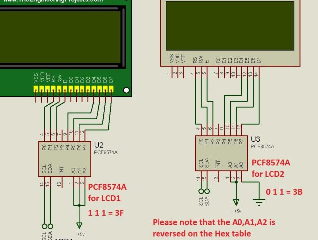 interfacing the PCF8574A to the LCD