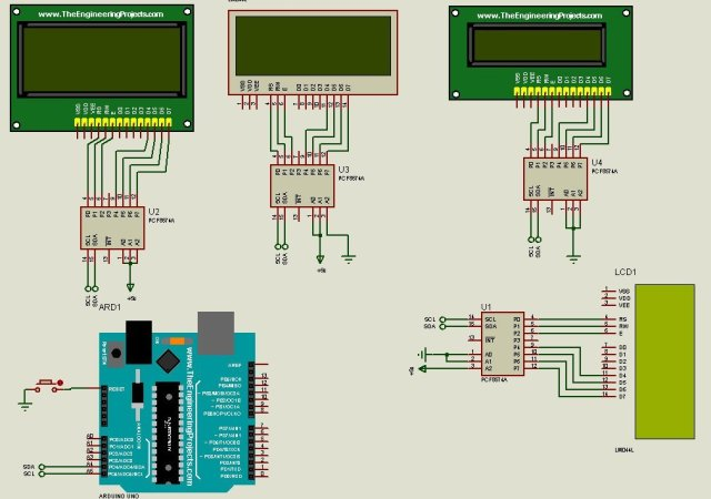 The circuit to connect multiple LCD to Arduino in proteus