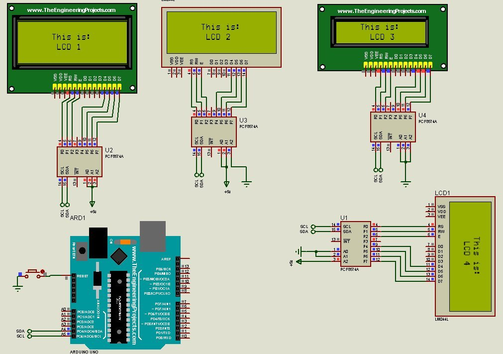 How to connect multiple LCD to Arduino in Proteus