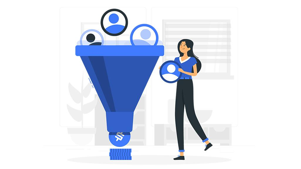 Sales funnel illustration of a girl and a coin