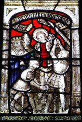 Image showing detail of mediaeval glass at St Anietus Church, St Neot Cornwall