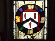 Image of shield detail in window at St Anietus Church, St Neot Cornwall