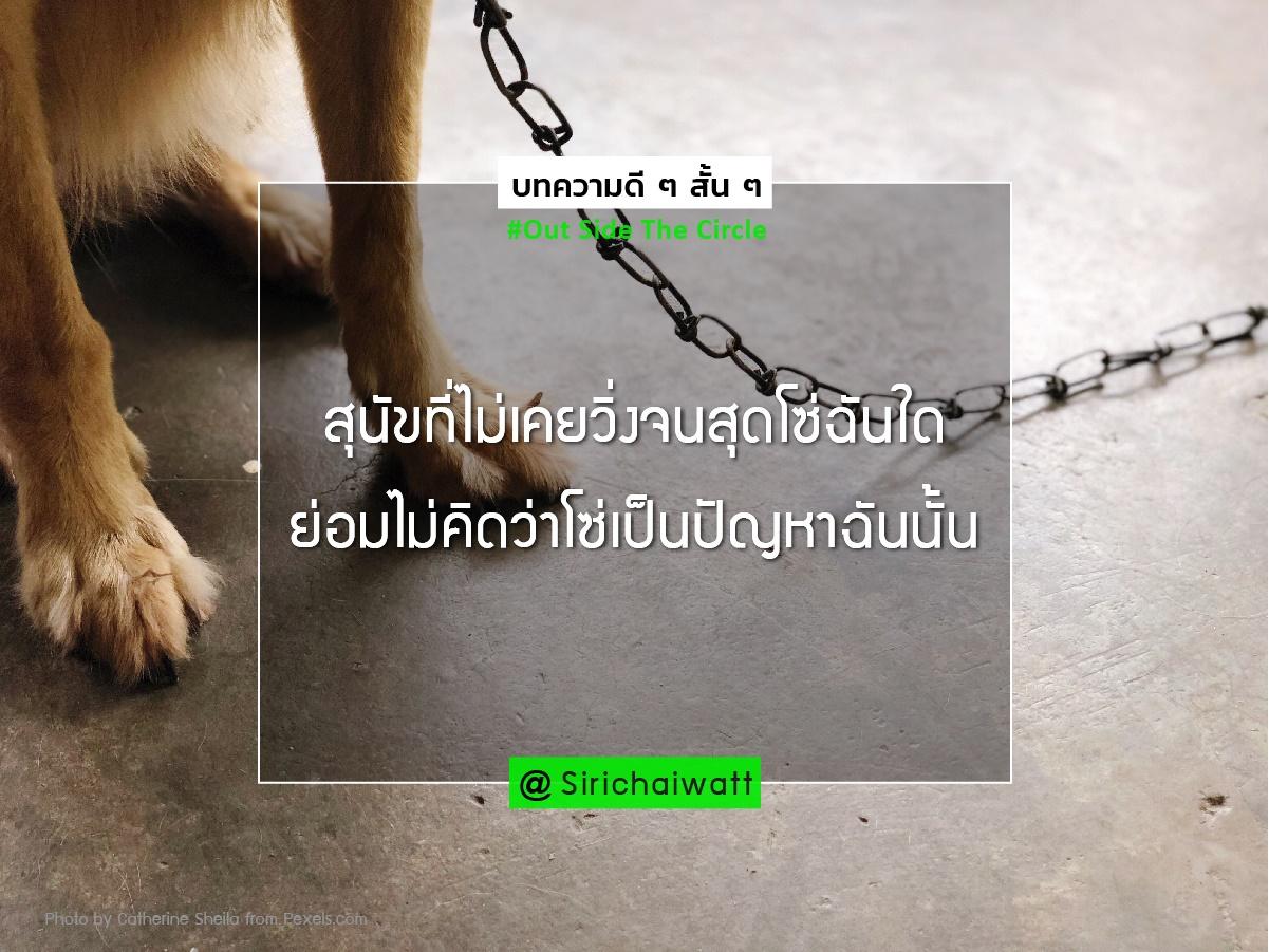 สุนัขที่ไม่เคยวิ่งจนสุดโซ่ฉันใด ย่อมไม่คิดว่าโซ่เป็นปัญหาฉันนั้น