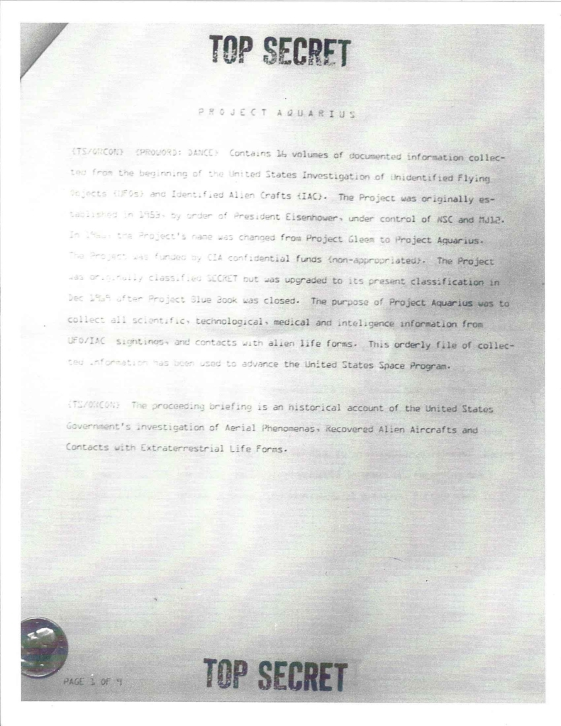 Project Aquarius Executive Correspondence, Pg. 1 of 9