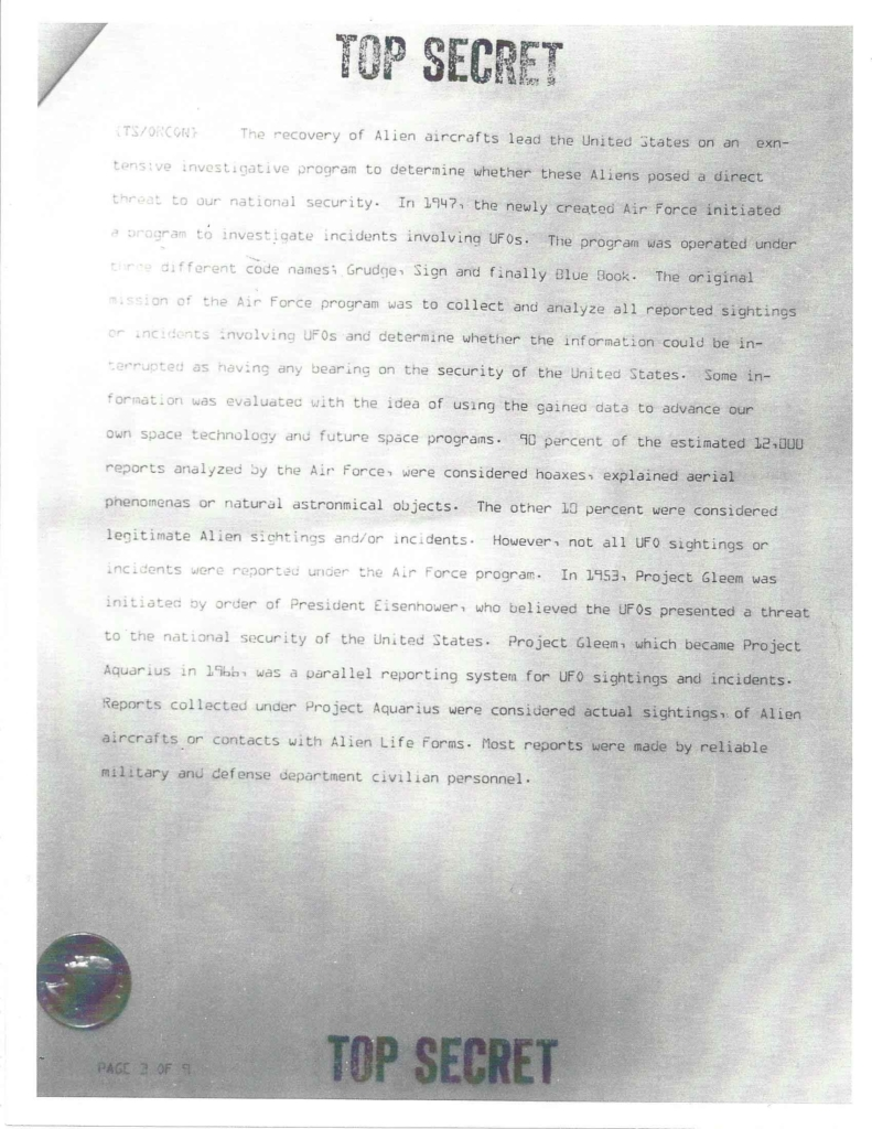 Project Aquarius Executive Correspondence, Pg. 3 of 9