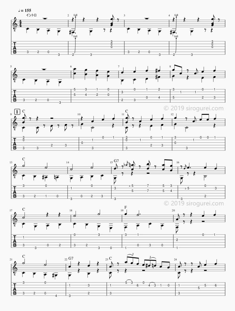 ソロギターtab 「When The Saints Go Marching In」/「聖者の行進」-1