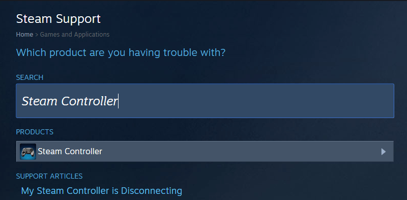 """Search for """"Steam Controller"""" in the support search box"""