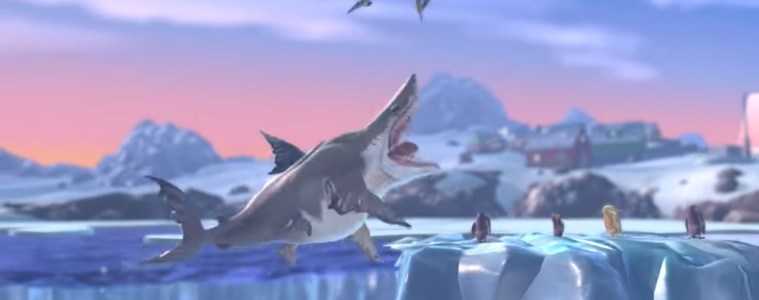 Hungry Shark World eating on ice