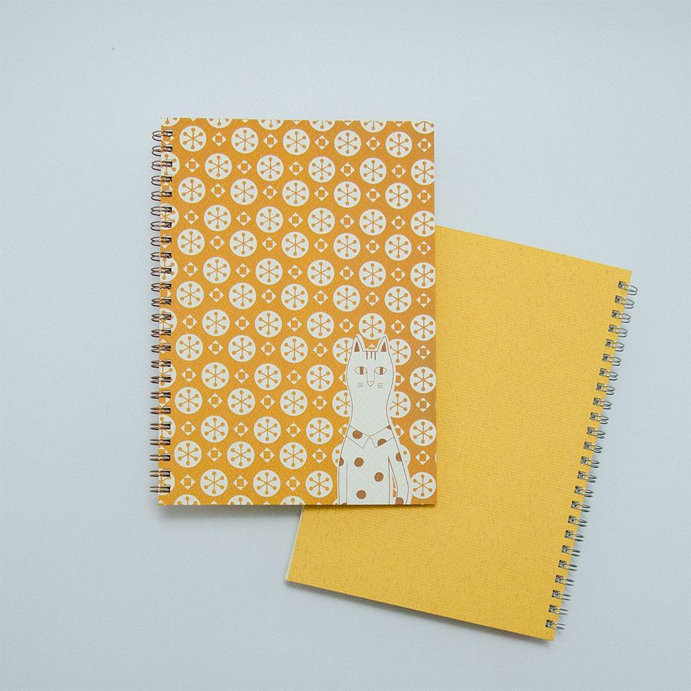 こだわりのリングノート。私だけのオリジナルデザインノート。ねこ・橙色。