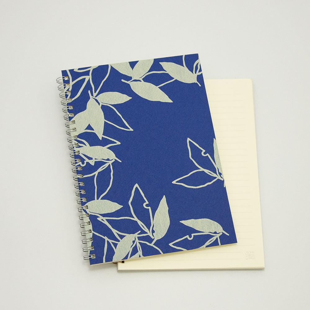 葉模様×紺色