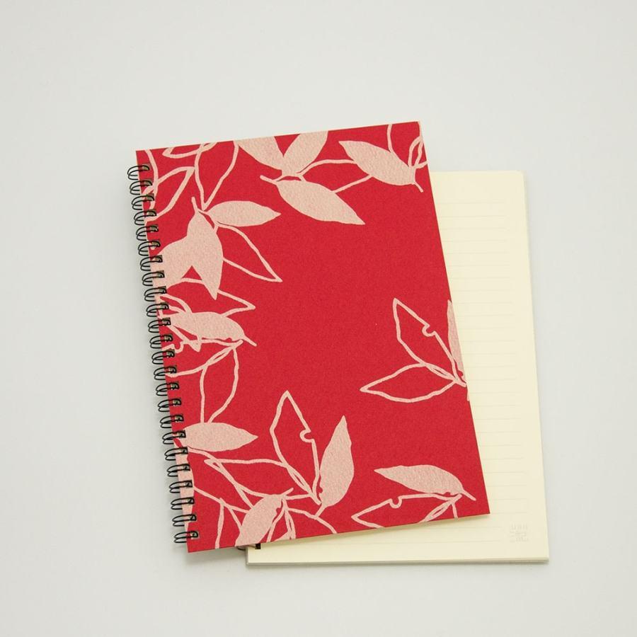 オーダーノート(A5)<br>葉模様×赤色