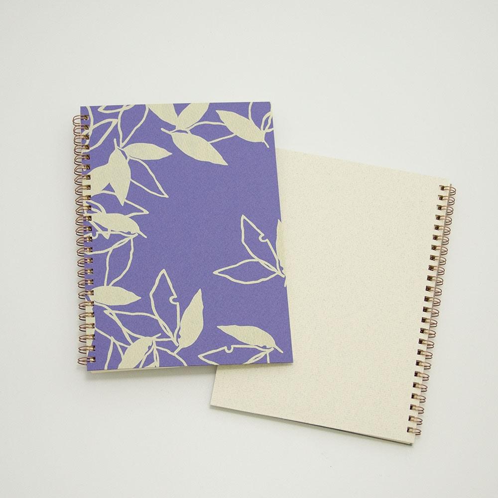 オーダーノート(A5)<br>葉模様×紫色イメージ3