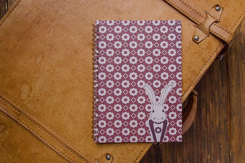 こだわりのリングノート。私だけのオリジナルデザインノート。うさぎのイメージ。