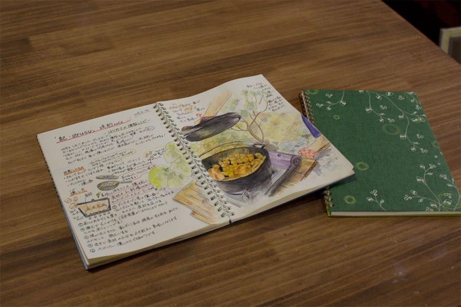 手描きレシピ。初めての燻製レシピ。自分だけのリングノートに描いています。
