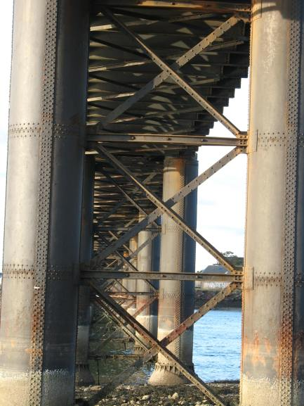 Piers, bracing and girders
