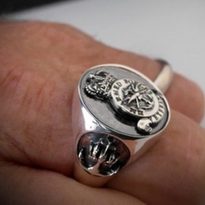 Veterans Navy Ring Oxidized