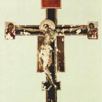 図2 チマブーエ《十字架降下》に広がる巨大な欠損群 国立輝石修復研究所アーカイヴセンター