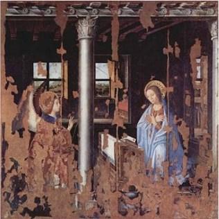 図5 中間色例 アントネッロ・ダ・メッシーナ 《受胎告知》板に油1474年 180x180(cm) シラクーサ ベッローモ州立美術館所蔵