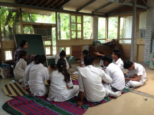 Class 9 students in music class.